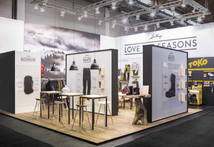 Exhibition Stand Display Lighting : Lundhags ispo messe münchen mea studio